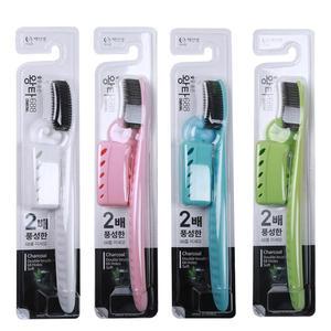 韩国进口王打688大头中软毛牙刷 带牙刷架牙刷套 白博士木炭牙刷