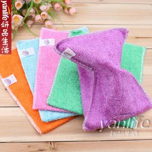 韩国 彩色竹纤维不粘油洗碗巾/抹布双层 小号 17.5*15cm