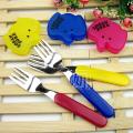 日本原装进口餐具 大象头套儿童叉子 不锈钢叉子 三色入